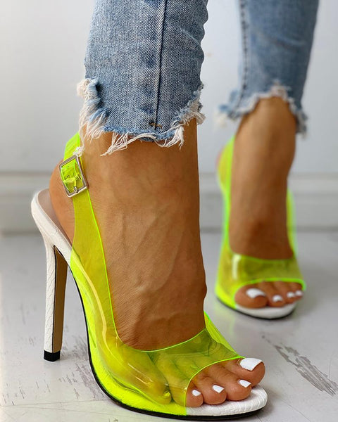 Transparent Strap Buckle Thin Heels