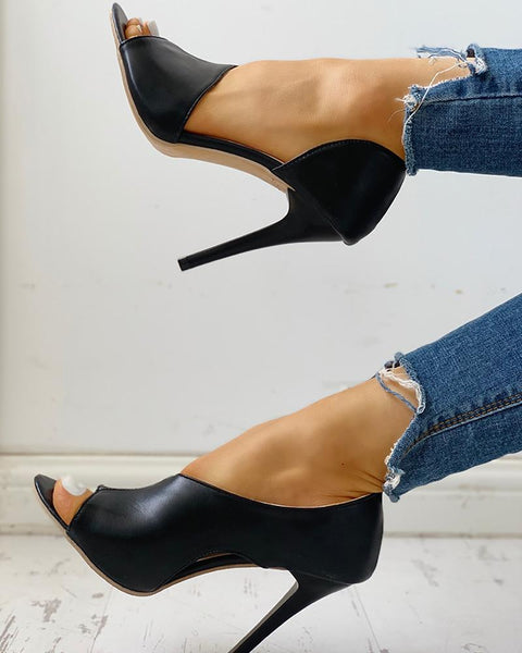 Peep Toe Cut Out Thin Heels Sandals