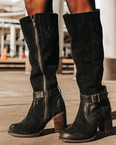 Side Zip Belted Chunky Boots