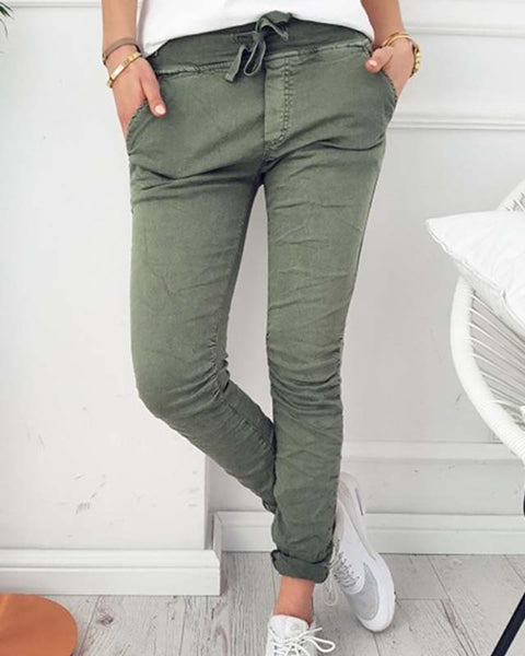 Solid Color High Waist Pants