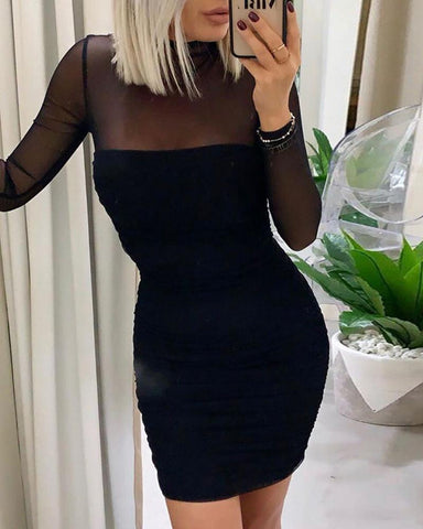 Solid Patchwork Mesh See Through Bodycon Dress