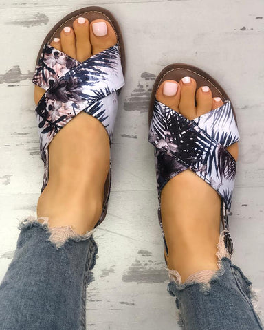 Tropical Print Crisscross Peep Toe Flat Sandals