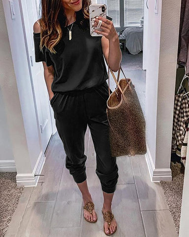 Solid One Shoulder Pocket Detail Jumpsuit