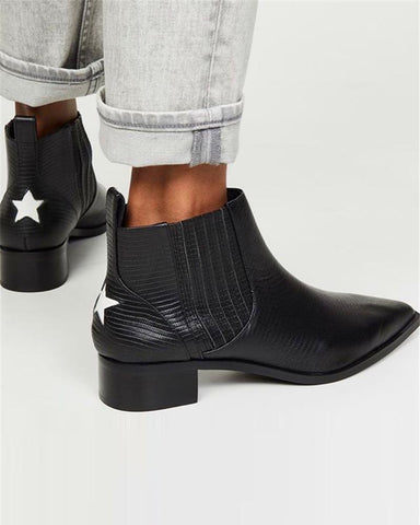 Pointed Toe Star Print Ankle Boots