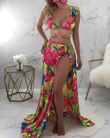 3PCS Floral Print Strappy Bikini With Cover Up