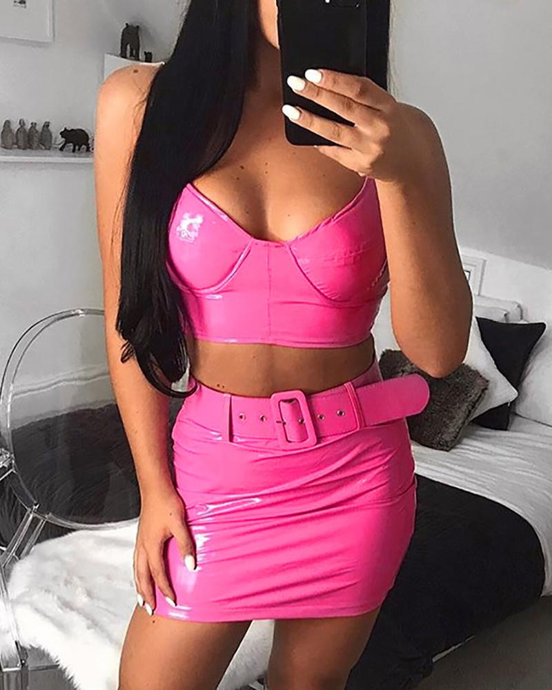 Fluorescence color Spaghetti Strap Top & Skirt Sets