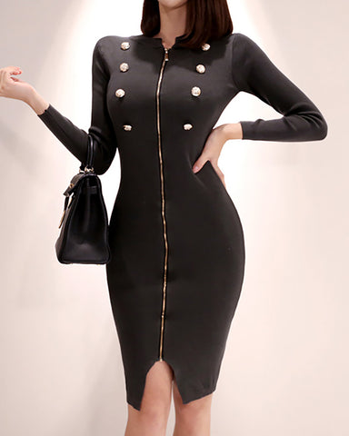 Solid Long Sleeve Zipped Dress