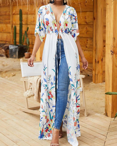 Floral Print Knot Waist Longline Cover Up
