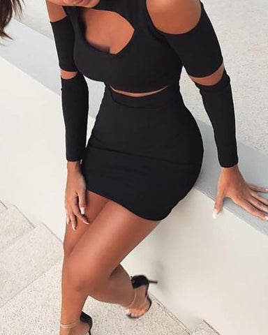 Black Cut Out Cold Shoulder Bodycon Dress
