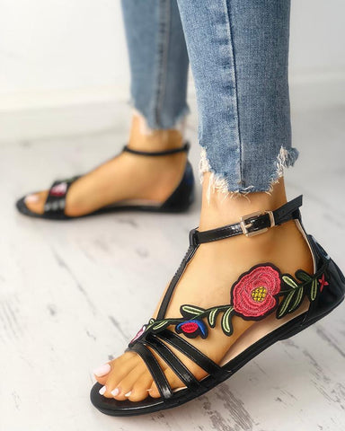 Rose Embroidered Multi-strap Flat Sandals