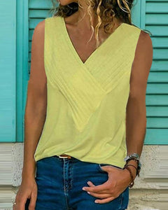 Solid V Neck Sleeveless Casual Tops