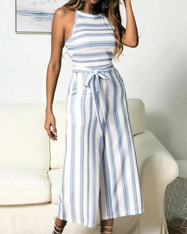 Colorful striped print sleeveless wide leg jumpsuits
