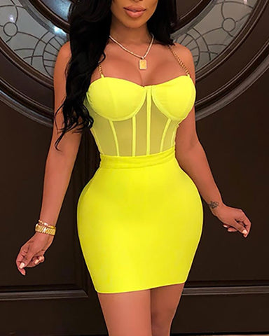 2 Piece/Set Mesh Bustier Top And Skirts