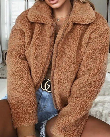 Solild Plush Faux Shearling Coat Jacket