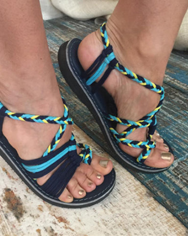 Color Matching Knot Beach Toe Sandals