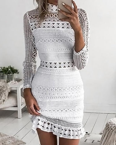 Hollow Out Long Sleeve Broderie Lace Dress