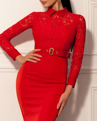 Lace Bodice Bodycon Dress