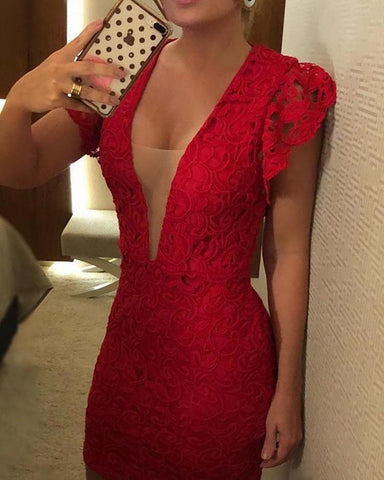 Mesh Insert Plunge Flounced Lace Dress