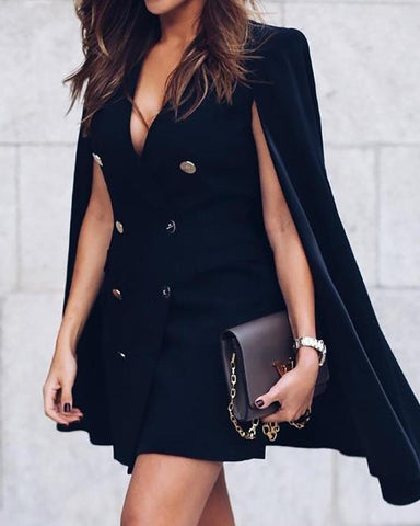Double-Breasted Cloak Design Blazer Dress