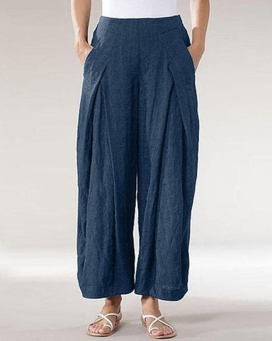 Cotton and Linen Wide Leg Temperament Commuter Pants