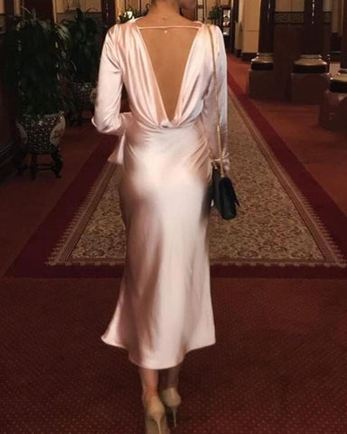 Open Back Draped Neck Satin Dress