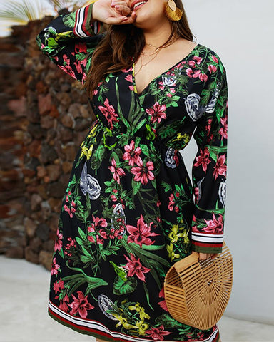 Botanical Print Long Sleeve Casual Dress