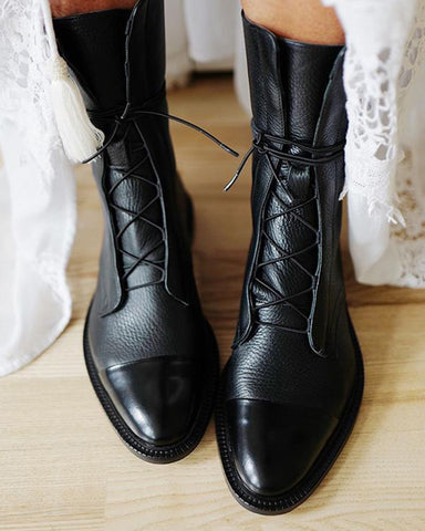 Faux Leather Lace-Up Boots