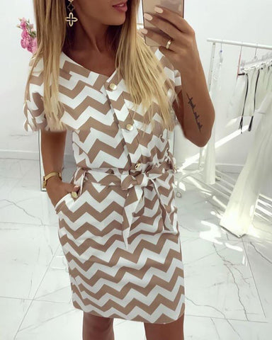 Short Sleeve Wave Print Casual Dress