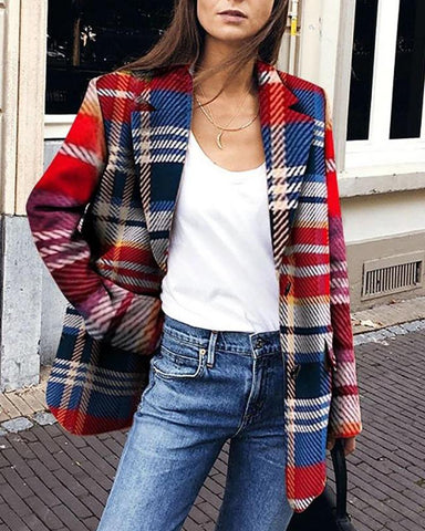 Multicolor Plaid Turn-Down Collar Coat