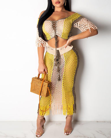 Hollow Out Off Shoulder Short Sleeve Top And Long Skirt Set