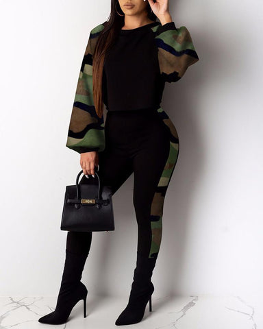 Camouflage Print Insert Top & Pants Sets