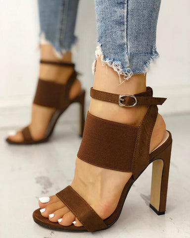 Open Toe Elastic Strap Heeled Sandals