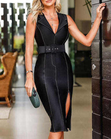 Sleeveless Contrast Piping Slit Bodycon Dress
