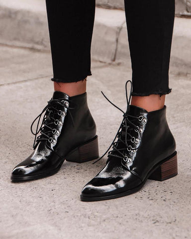 Lace-Up Pointed Heeled Boots