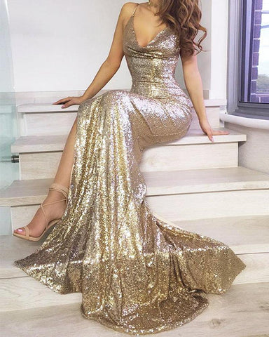 V Neck Backless Sequined Dress