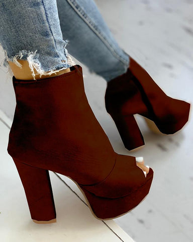 Stylish Solid Color Open Toe Chunky Pumps