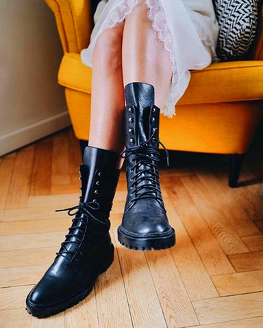 High Top Lace-Up Biker Boots