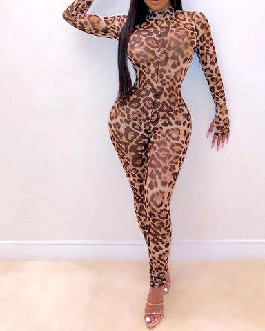 Leopard Mock Neck Long Sleeve Bodycon Jumpsuit