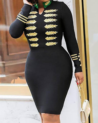 Embroidery Long Sleeve Bodycon Dress