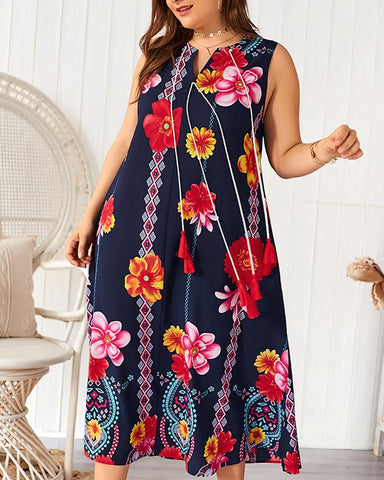 Sleeveless Floral Print Casual Dress