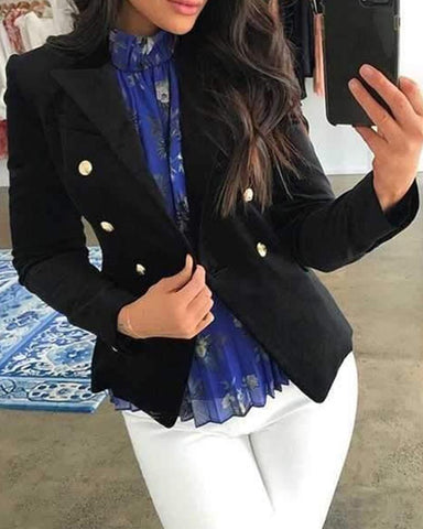 Solid Short Button-Up Blazer