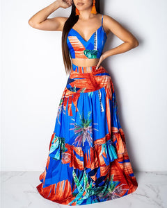 V Neck Tropical Printed Two Piece Set