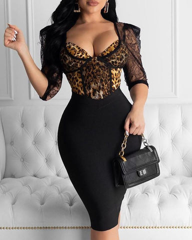 Lace Leopard Tight Waist Bodycon Dress