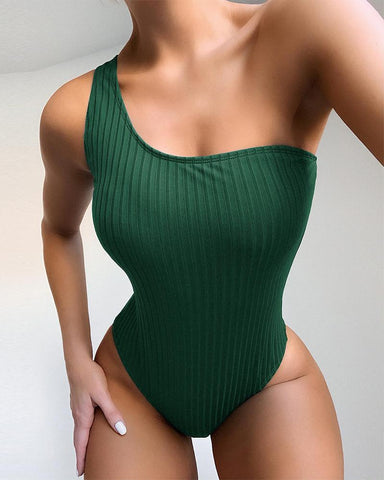 One Shoulder Rib Swimsuit