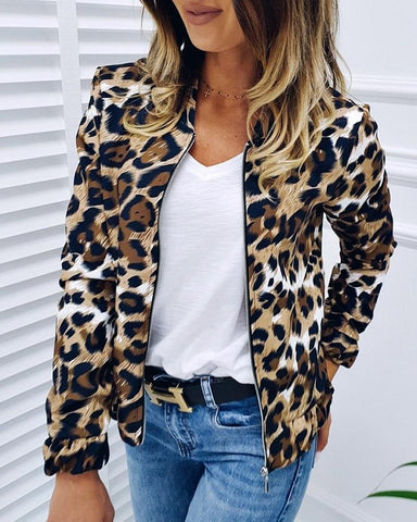 Leopard Zipper Design Casual Jacket