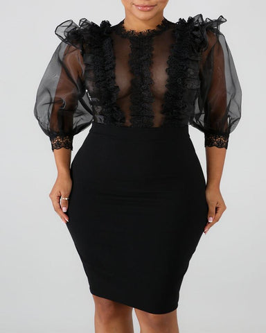 Sheer Mesh Insert Ruffles Bodycon Dress