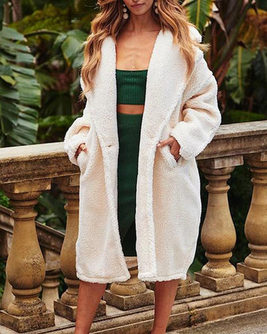Oversized Solid Faux Shearling Coat