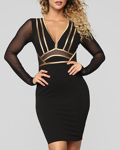 Mesh Long Sleeve Contrast Piping Bodycon Dress