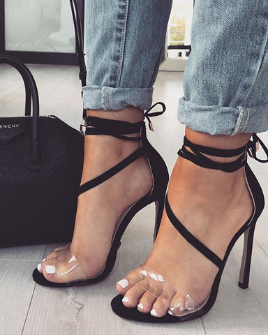 Transparent Strap Open Toe Thin High Heeled Sandals