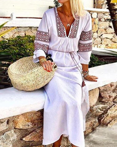 Embroidery V Neck Waist Tie Long Sleeve Split Maxi Dress